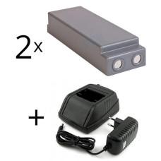 Zestaw ładowarka 24-230V Scanreco 9000-000434, 9000-000435 + 2 baterie 13445, 16131, 17162, 590, 592, 593, RC400, IM6024, RSC7220
