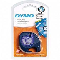 DYMO LetraTag Plastikāta Lente12mm x 4m / melns uz caurspīdīgas (S0721540)