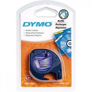 DYMO LetraTag Plastikāta Lente12mm x 4m / melns uz caurspīdīgas ( S0721540)