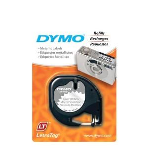 DYMO LetraTag Plastikāta Lente12mm x 4m / black on metallic (S0721710)