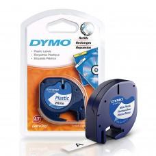 DYMO LetraTag Plastikāta Lente12mm x 4m / melns uz baltas (S0721560)