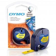 DYMO LetraTag Plastikāta Lente 12mm x 4m /  melns uz dzeltenas (S0721570)