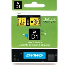 DYMO D1 Lente 12mm x 7m / melns uz dzeltenas (45018 / S0720580)