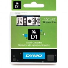 DYMO D1 Lente 12mm x 7m / melns uz caurspīdīgas (45010 / S0720500)