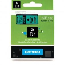 DYMO D1 Lente 12mm x 7m / melns uz zaļas (45019 / S0720590)