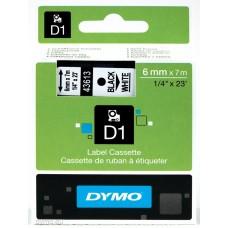 DYMO D1 Lente 6mm x 7m / melns uz baltas (43613 / S0720780)