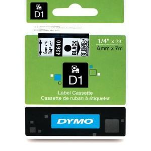 DYMO D1 Lente 6mm x 7m / melns uz caurspīdīgas (43610 / S0720770)