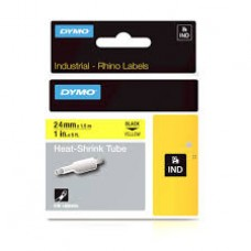 DYMO Rhino Termocaurulīte 24mm x 1.5m /  melns uz dzeltenas (1805444)