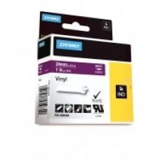 DYMO Rhino Vinila Lente 24mm x 5.5m / balts uz violetas (1805428)